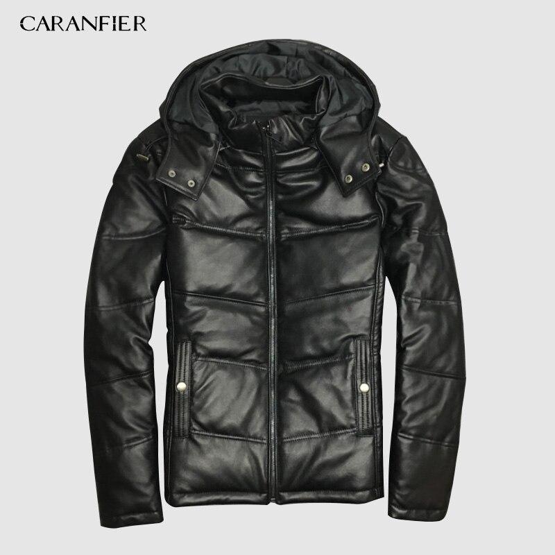 CARANFIER 2019 Jackets Men Genuine Leather 100% Duck Down Jackets Winter Outerwear 100% Sheepskin Coat Casual Solid Overcoats