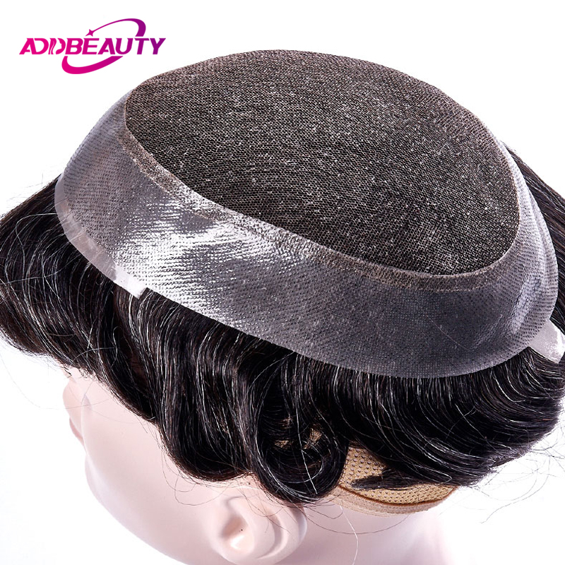 AddBeauty Swiss Lace & PU Toupee Replacement Systems Handmade Men Wig Hairpiece Natural Remy Indian Human Hair 6 Inch