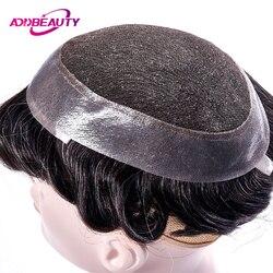 AddBeauty Zwitserse Kant & PU Toupetje Vervanging Systemen Handgemaakte Mannen Pruik Haarstukje Natuurlijke Remy Indian Human Hair 6 Inch