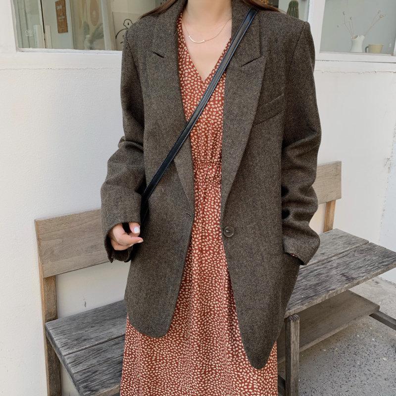 HziriP Chic All Match Brief Women High Street 2019 Autumn Women Slender Loose Wool Large Size Office Lady Warm Vintage Blazers
