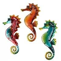 Caballito de mar de Metal para decoración de jardín escultura al aire libre y estatuas en miniatura adornos Animal Jardin