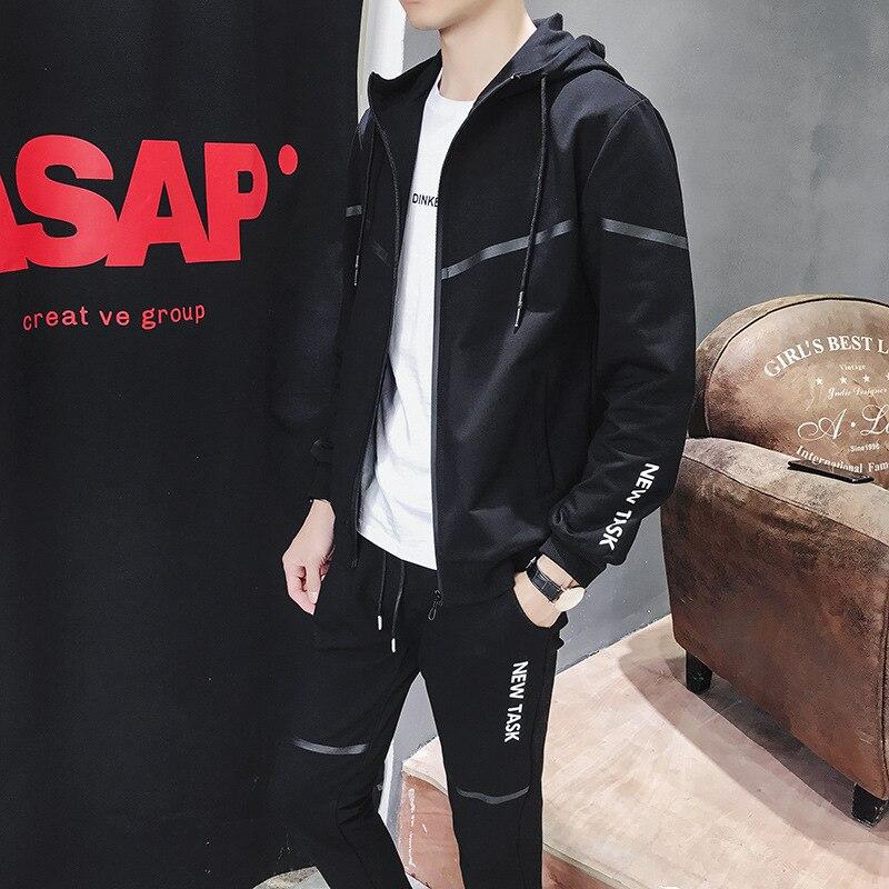 Autumn & Winter Hoodie Suit Men Korean-style Trend Casual Sports Clothes Plus Velvet Cardigan Coat Hooded Two-Piece Set