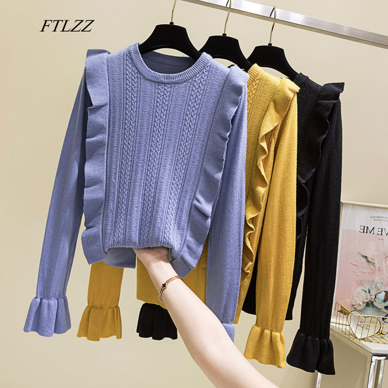 FTLZZ Women Knitted Sweater Pullover O Neck Flare Sleeve Woolen Pullovers Sweet Ruffled Slim Female Elastic Twist Jumper Tops