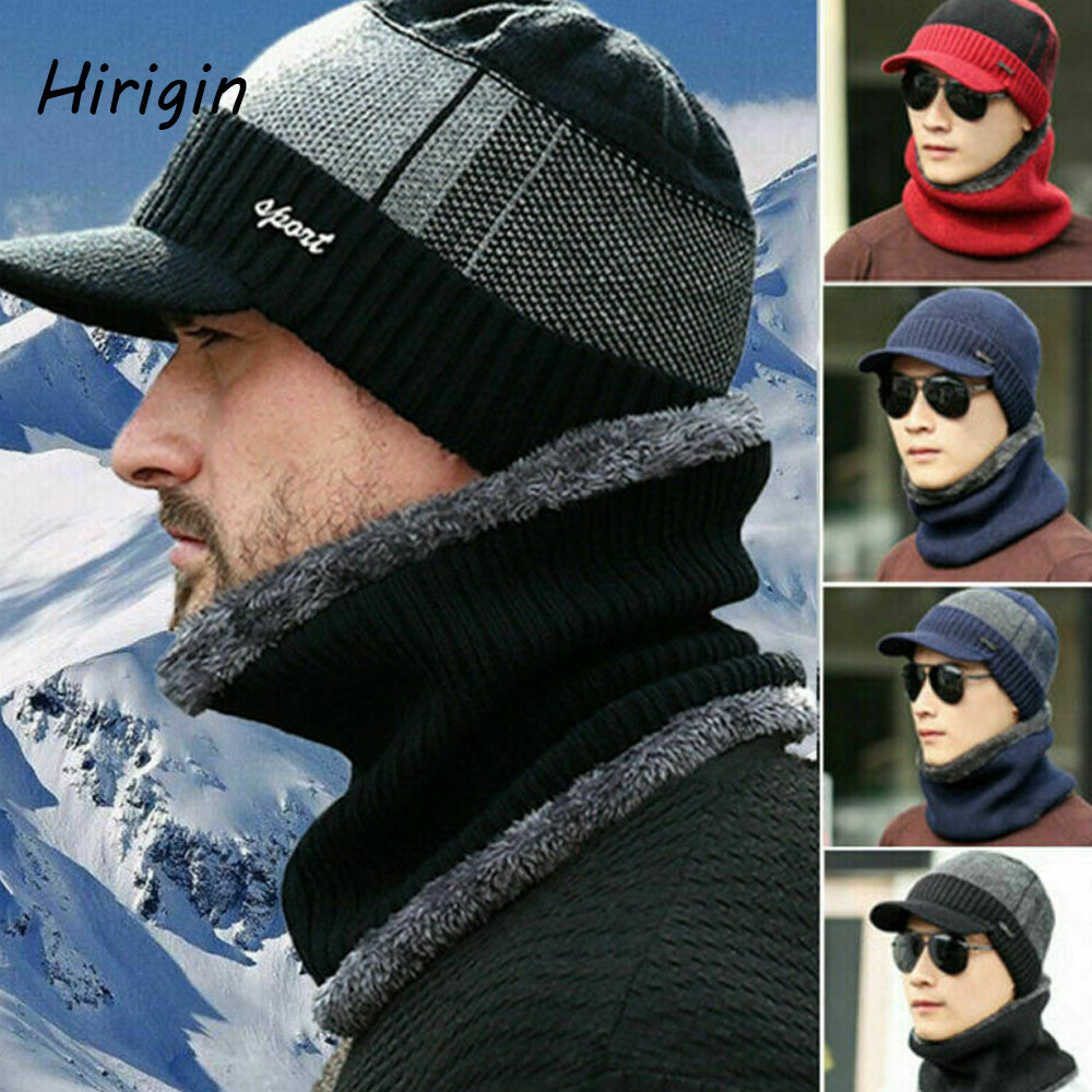 2020 Winter Knitted Hat Men's Autumn Winter Wool Caps Male Winter Warm Scarf Hat Set Balaclava Beanie Two-piece Ladies Hats Caps
