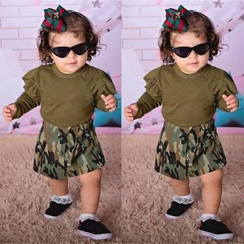 Noworodek Baby Boy długie falbany zestawy topy kamuflaż krótkie spodnie zestawy strojów dorywczo luźne wygodne 2 częściowe zestawy # D35 tanie i dobre opinie COTTON W wieku 0-6m 7-12m 13-24m 25-36m 3-6y 7-12y 12 + y Unisex Moda O-neck Swetry Pełna REGULAR Pasuje prawda na wymiar weź swój normalny rozmiar