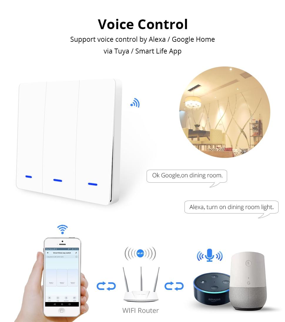 Zemismart WiFi Wall Push Switch Alexa Google Home Tuya Light switches Three  Gangs Two Gangs One Gang Physical Button