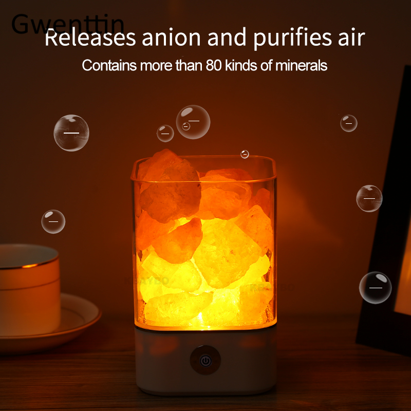 Image 3 - USB Crystal Natural Himalayan Salt Lamp Led Lava Lamp for Home Indoor Warm Light Table Bedroom Bedside Fixtures Luminaira Decor-in LED Night Lights from Lights & Lighting