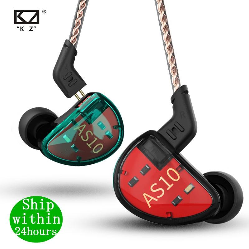 KZ AS10 гарнитура 5 балансировочный арматурный динамик наушники HIFI монитор с басом музыкальные наушники общие ZS10 ZST BA10 ES4 AS16 AS12 ZSX