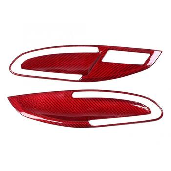 2pcs Car Door Handles Carbon Fiber Red Interior Door Handle Trim Fits for Porsche 911 718 2012-2018 auto parts image