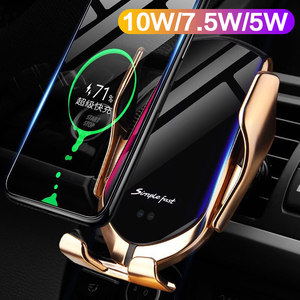 Image 2 - 10W Fast Charger Automatic Clamping Car Wireless Charger Qi Infrared Sensor Phone Holder For iPhone 11 Xs Huawei P30 Pro Samsung