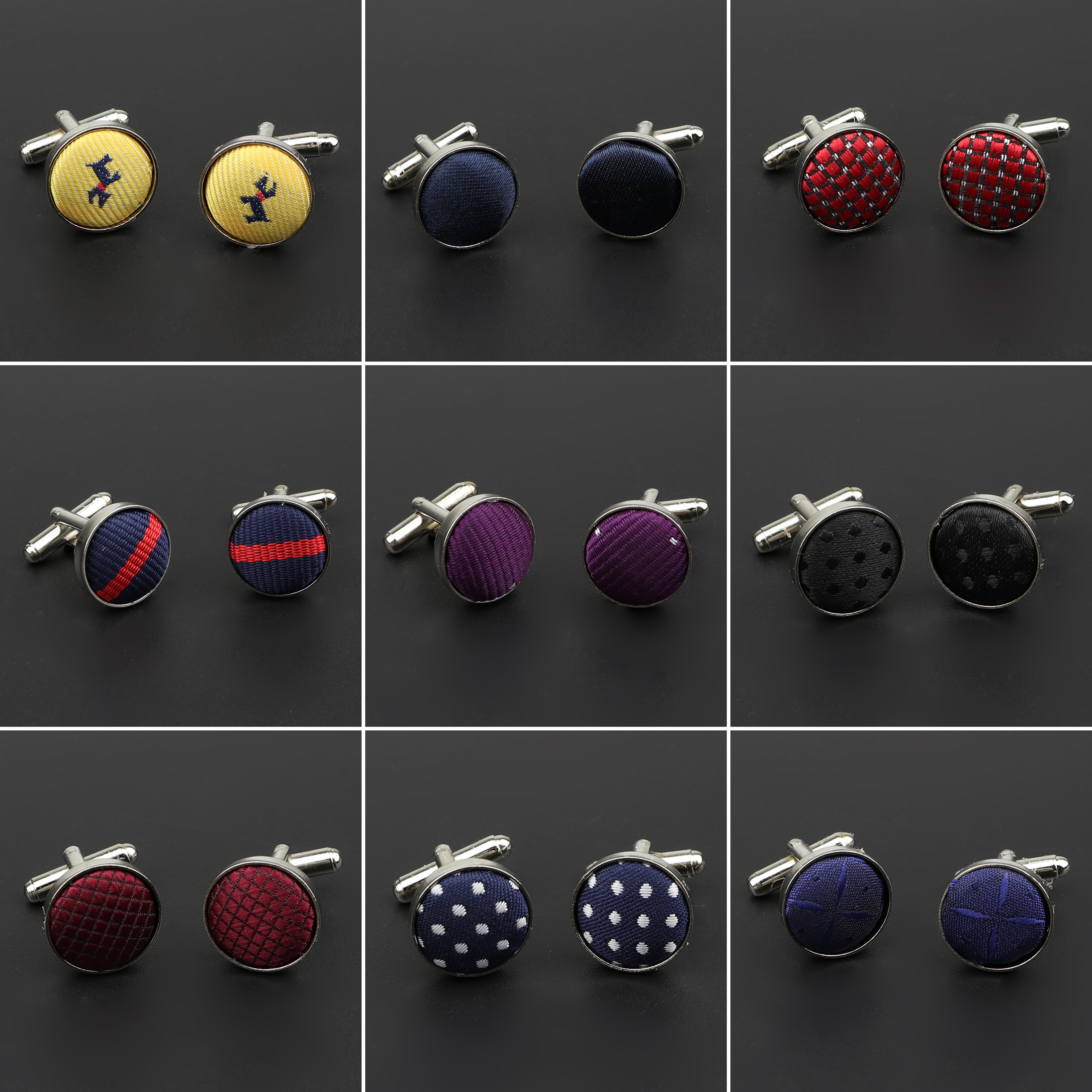 Classic Fashion Dots Solid Polyester Check Design Cufflink For Mens Brand Cuff Buttons Cuff Links High Quality Jewelry NO.1-30