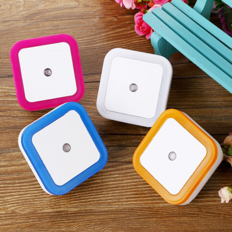 Induction Sensor LED Night Light EU US Plug Mini Square Night Lights Home Lighting Wall Lamp For Baby Room Bedroom Corridor Lamp