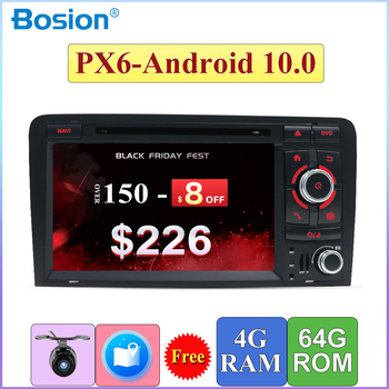 PX6 Android 10.0 Car DVD Player autoradio stereo Audio Multimedia For Audi A3 2006-2011 Wifi GPS navigation BT AUX HDMI 4G+64G image