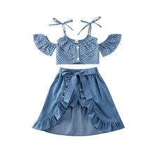 Pudcoco Baby Girl 여름 의류 점 Top + Ruffle Skirts Warps + Shorts Sunsuit Off Shoulder 3PCS 복장 1-5Years 2020(China)