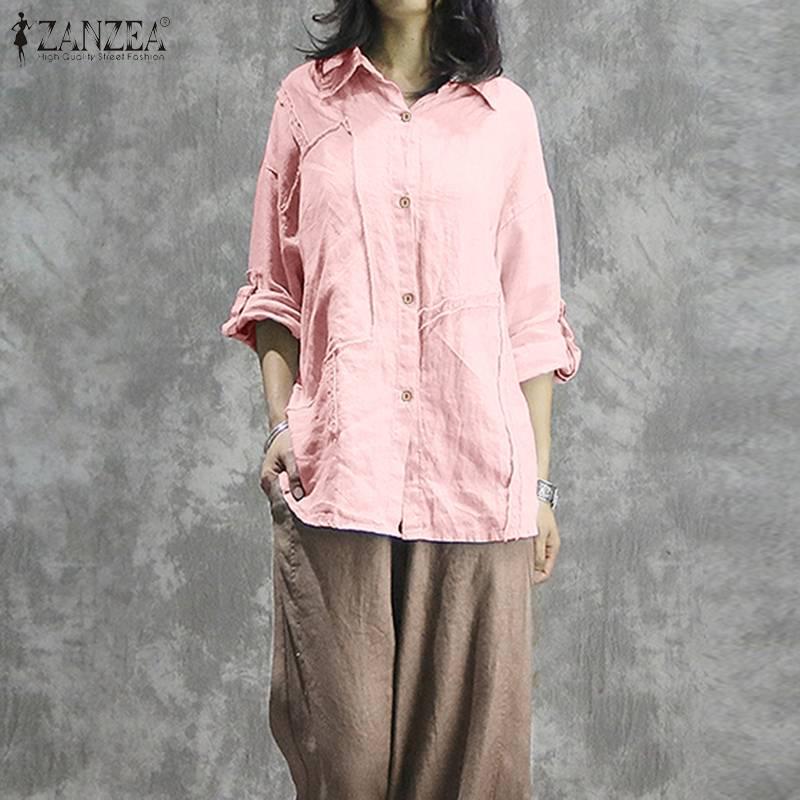 ZANZEA Spring Lapel Neck Long Sleeve Shirt Women Vintage Cotton Linen Blouse Casual Solid Blusas Loose Tunic Top Plus Size 5XL
