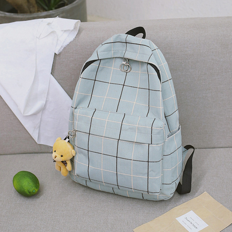 Simple Plaid Bear Ornaments Women's Backpack School Bags For Teenage Girls Small Fresh Cute Fashion Travel Female Daypack