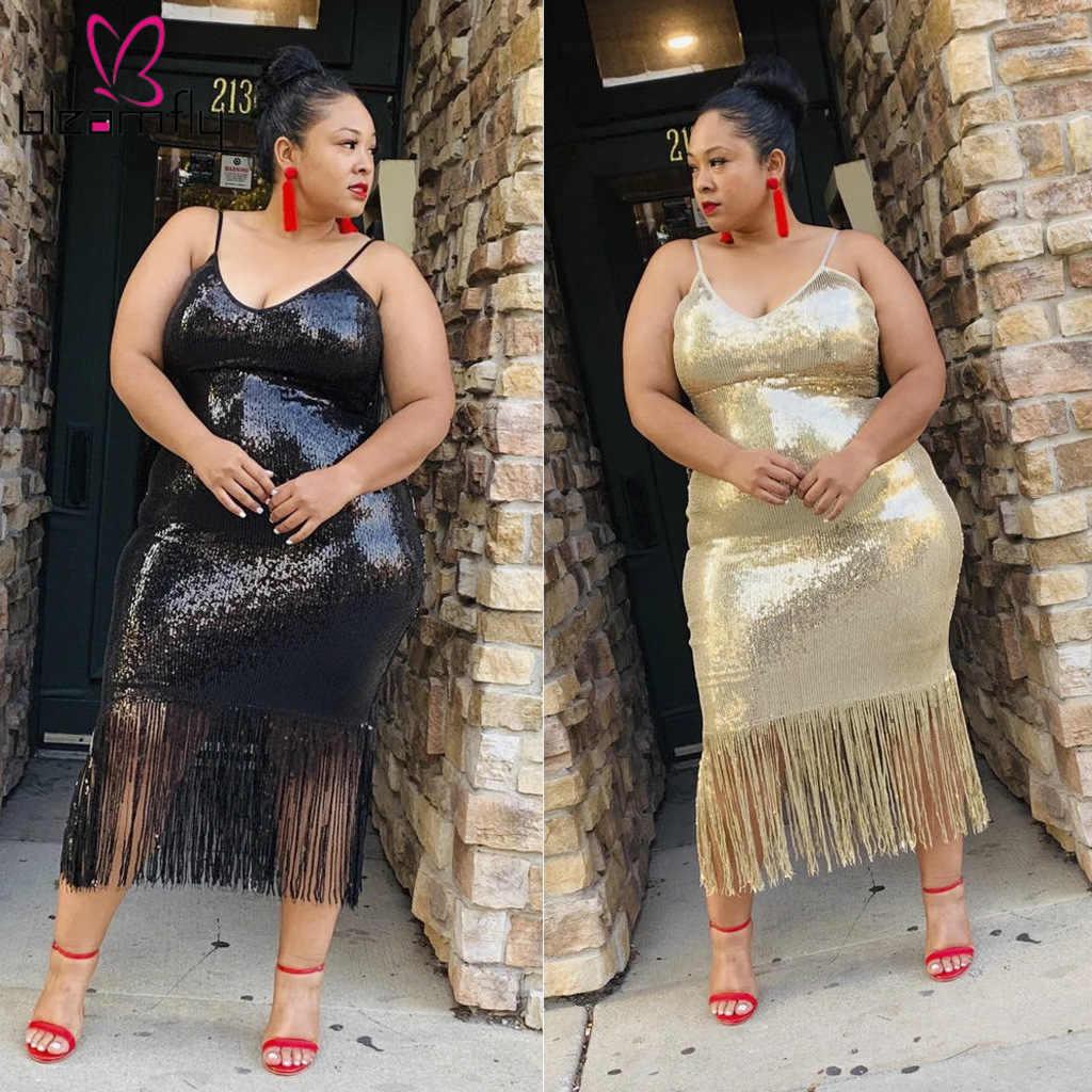 Plus rozmiar 4xl 5xl Sexy sukienek kobiety wieczorowa elegancka luksusowe sukienki damskie Spaghetti pasek Fringe Tassel cekinami Vestido