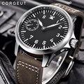 Luxe top merk Corgeut Mechanische Horloge mannen 17 Juwelen Seagull 6497 Hand Winding Mechanische Horloges lichtgevende Mannen horloges