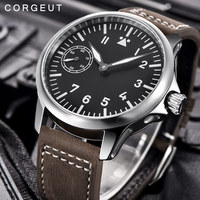 Luxury top brand Corgeut Mechanical Watch men 17 Jewels Seagull 6497 Hand Winding Mechanical Watches luminous Men wristwatches