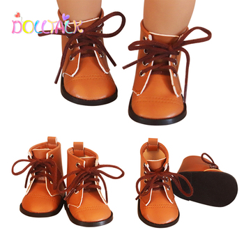 newest brown color doll lace martin boots high quality leather doll shoes 7cm for 18 inch american and 43 new baby dolls toy 7.5 cm Doll Shoes For New Born Baby Dolls BJD Toy Casual Boots 1/3Retro Shoes For American Doll EXO Dolls Accessorries Girl Gift