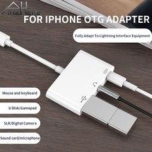 Otg-Adapter Speaker-Converter Earphones Usb-Keyboard Lightning To iPad/ipod Audio-Jack
