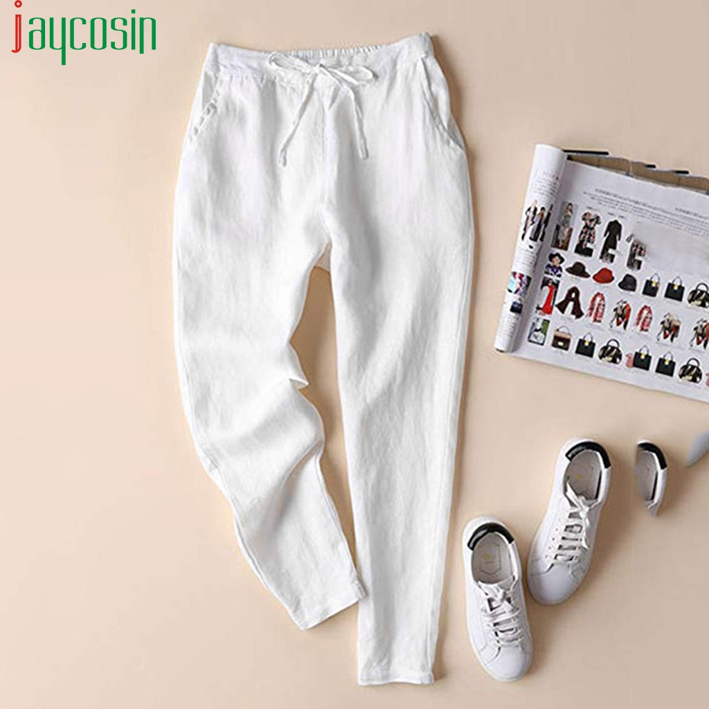 Women Sports Linen Trousers High Waist Drawstring Plus Size Casual Straight Pants Ladies Solid Color Pocket Wide Leg Trousers