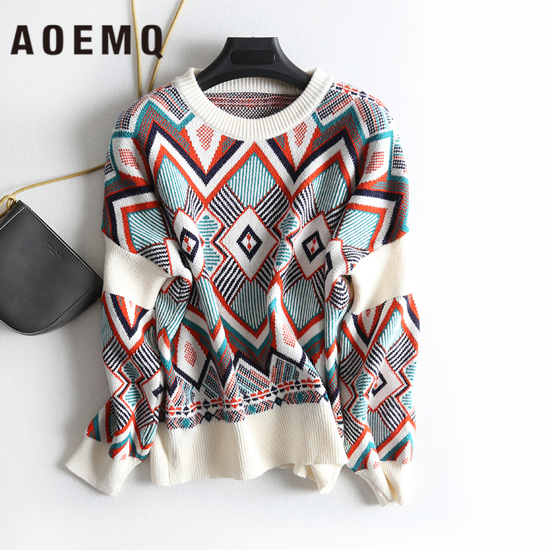 AOEMQ Winter Warm Sweater Women O-Neck Folk Punk Patchwork Irregular Pattern Sweater Women Tops Clothing For Christmas Day