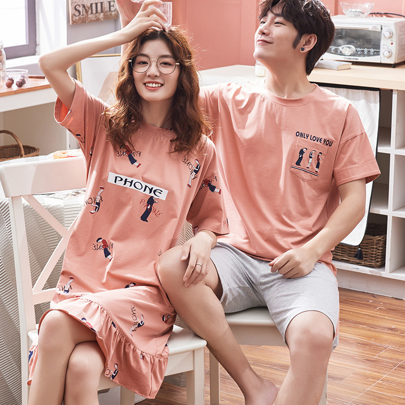 2020 Couples Pajamas Summer Pure Cotton Short Sleeve Korean-style Cute Nightgown WOMEN'S Suit Thin Men Homewear Set