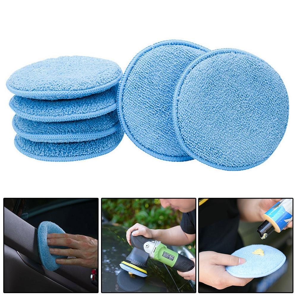 24 pcs redondo carro cera aplicador almofada lavavel encerar esponja reutilizavel 5 polegada aplicador limpeza polones