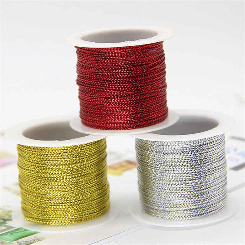 20 メートル 1 ミリメートルロープ金銀赤コード糸コード文字列ストラップリボンロープタグラインブレスレット作成 No の衣類のギフトデコ