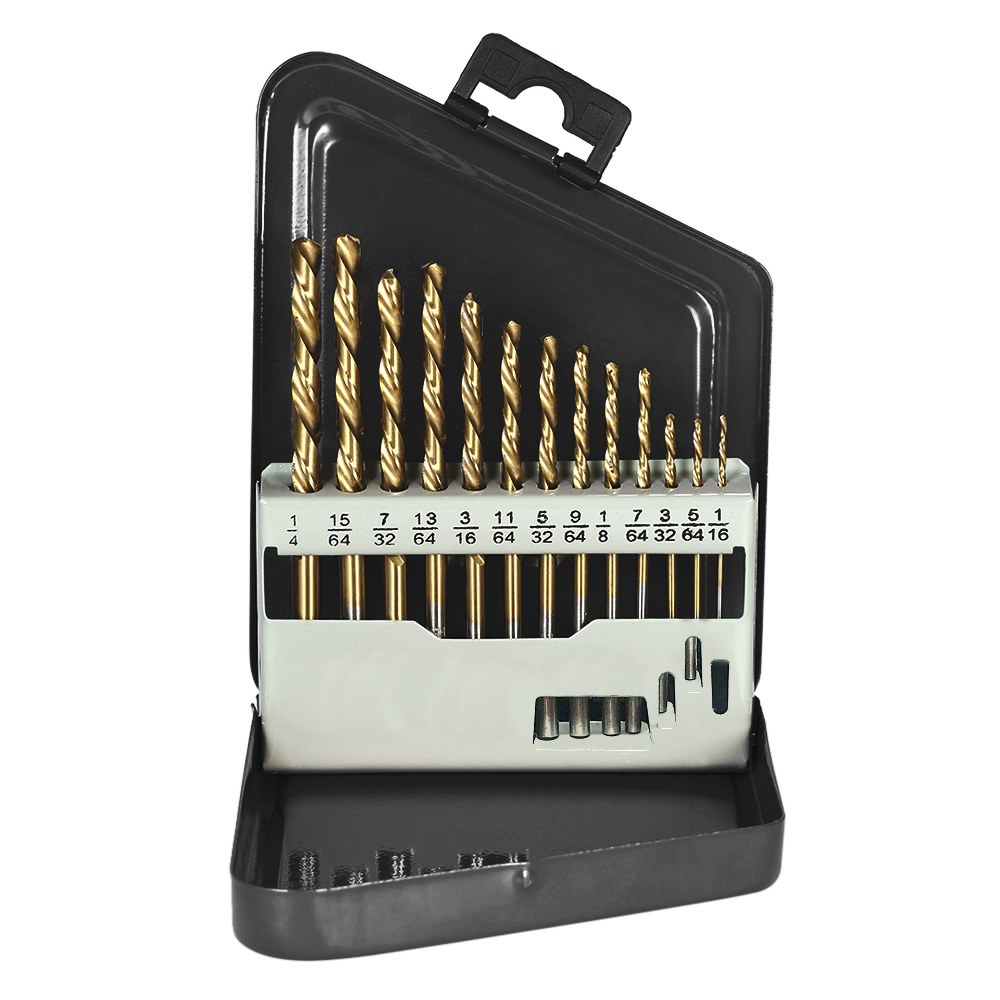 13pcs Left Handed Drill Bit Set M2 HSS Extractor With Titanium Nitride Coating (1/16