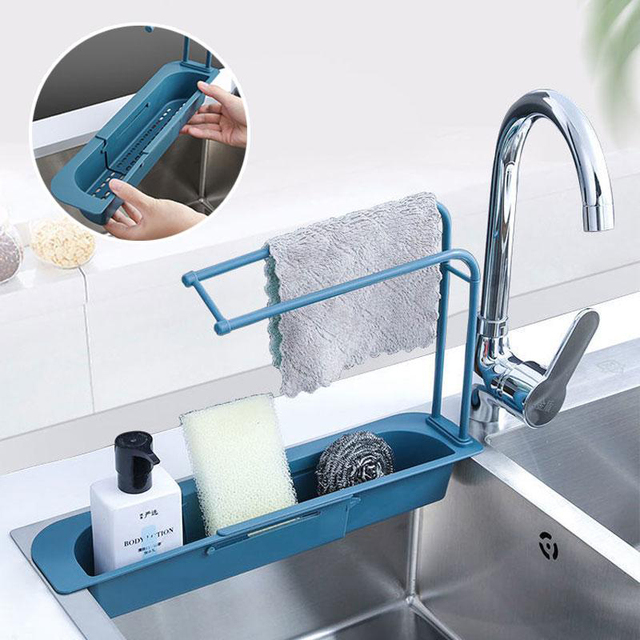 Telescopic Sink Storage Rack - Draining Basket 1
