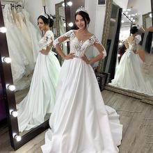 Атласные свадебные платья с коротким рукавом Кружевное платье