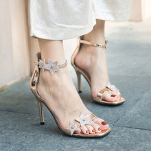 2020 European American Style Square-Head Peep-Toe Sandals Flower Decorative Buckle High Heels Summer Lady Party Dress Shoes hot selling american and european sexy black leather sandals peep toe chain fringe amazing party dress shoes