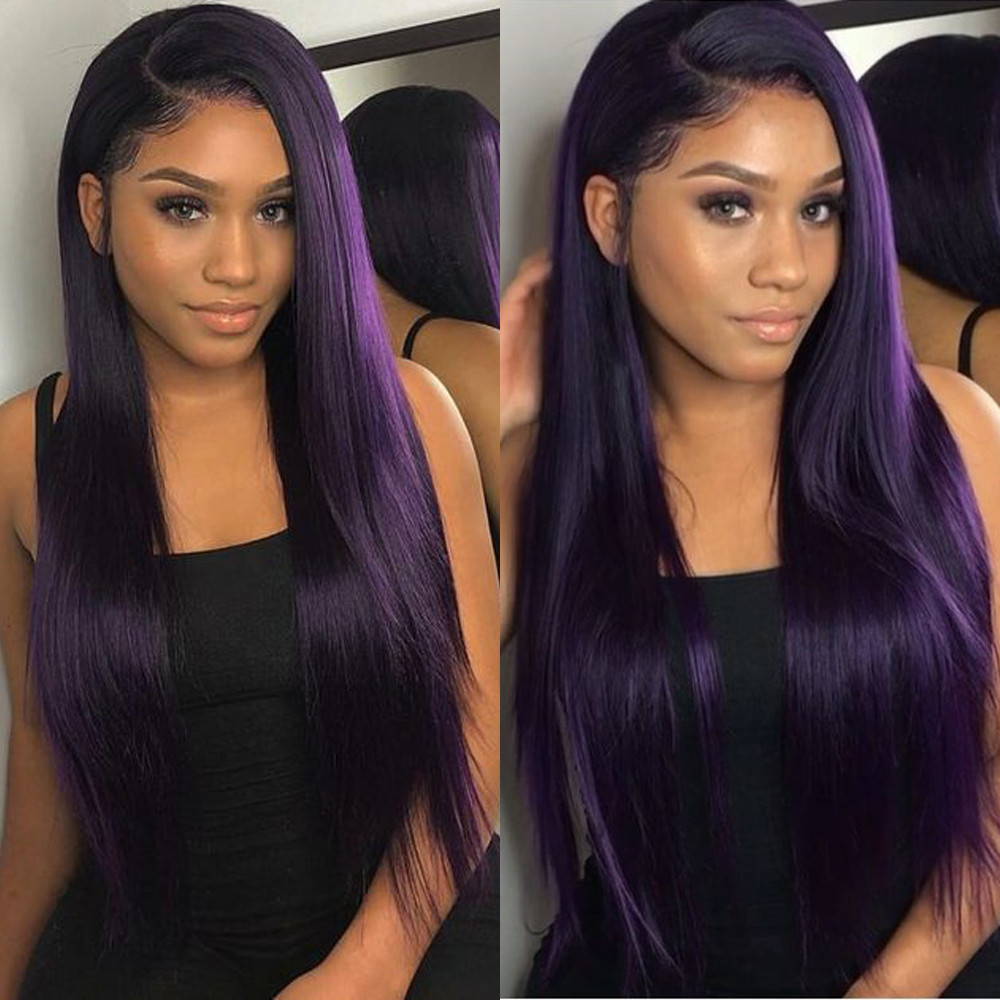 Purple Colored Straight Hair Full Lace Human Hair Wigs Brazilian Remy For Women Bleached Konts Glueless Wigs With Baby Hair