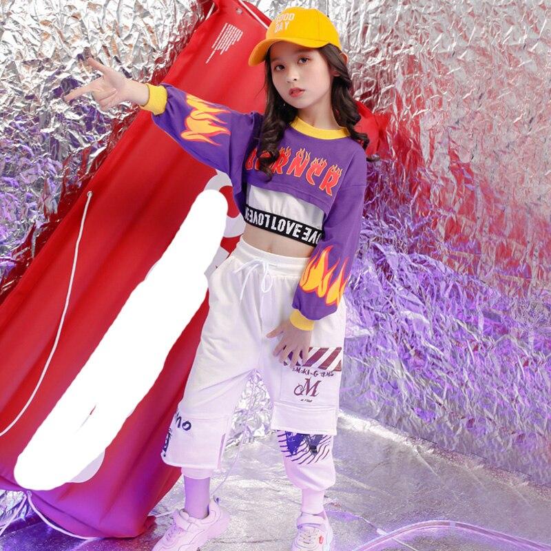 Kid Cropped Sweatshirt Shirt Jogger Pants Hip Hop Clothing Jazz Dance Costume For Girls Boys Ballroom Dancing Streetwear Clothes