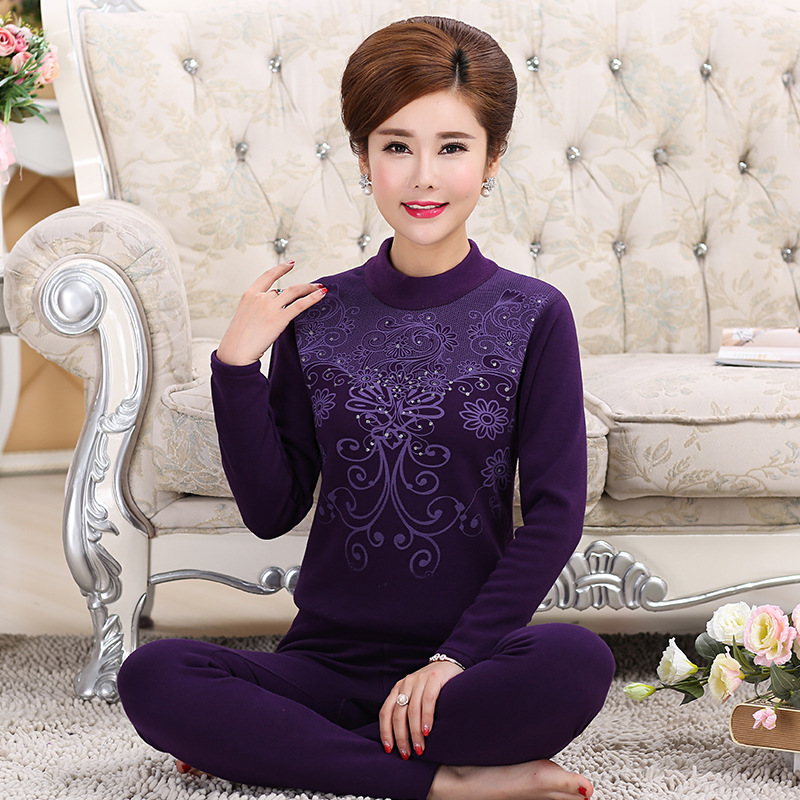 L 4XL Plus Size Middle aged Winter Women Clothes Turtleneck Cotton Women 39 s Thermal Underwear Set Thick Velvet Warm Long Johns in Long Johns from Underwear amp Sleepwears
