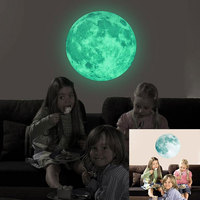 Decal 40CM Removable Home Decor Children Room Wall Stickers 3D Luminous Moon Wall Stickers Creative 4 Color Background Festival