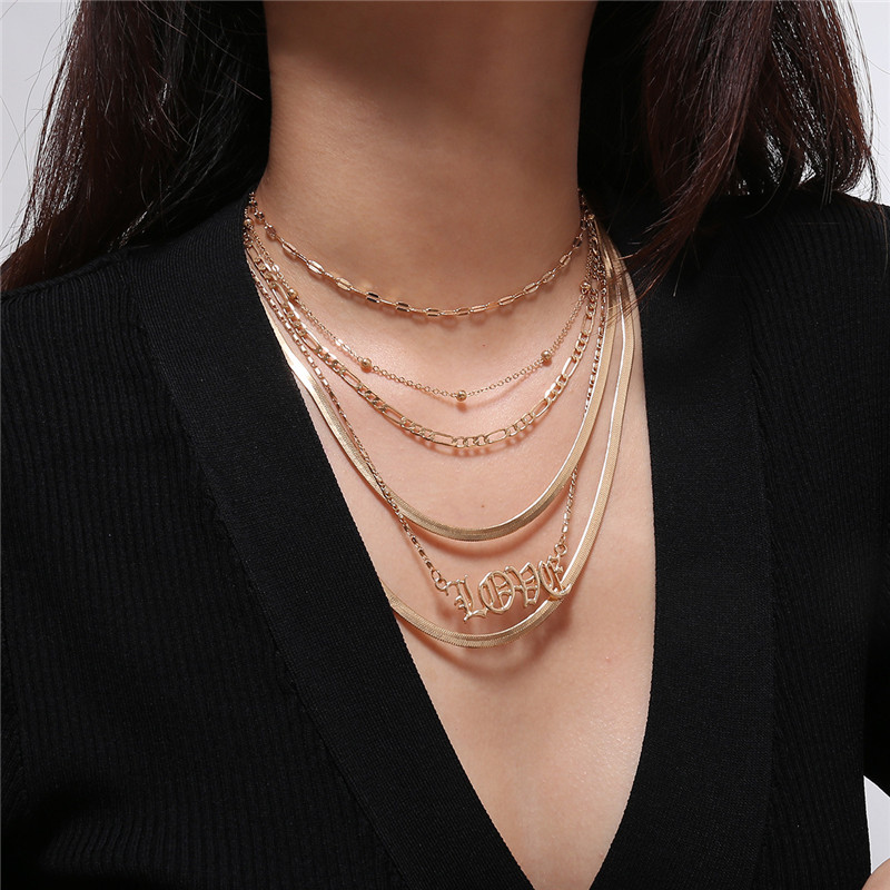 Fashion Women Letter LOVE Collar Necklaces Hiphop Collar Chain Statement Jewelry