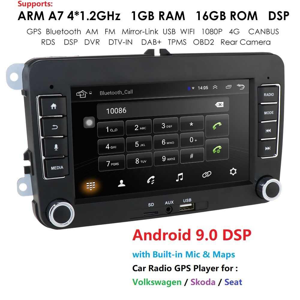 アンドロイド 9.0 2DIN 車の Gps 座席アルテアトレド VW ゴルフ 5/6 ポロパサート B6 Cc ティラジオ DVR OBD SWC RDS WIFI DTV