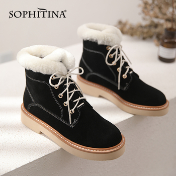 SOPHITINA New Winter Women's Boots Fashion Cow-Suede Keep Warm Non-Slip Lace-up Ankle Boots Round Toe Mid Heel Lady Shoes SO703 sophitina brand elegant women boots solid cow leather knee high winter boots keep warm wool fur thick heel round toe shoes b31