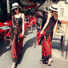 Summer fall lady boho dress Fashionable street cotton halter Free original belt Outdoor beach ladies a-line