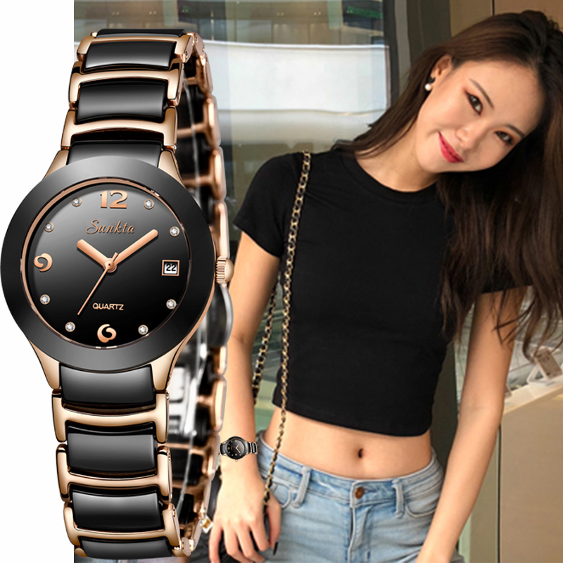 Marca de Luxo Relógio de Senhora Relógio de Cerâmica Relógio à Prova Assista + Box Sunkta Mulheres Relógios Diamante Senhoras d' Água Fino Moda Casual Top