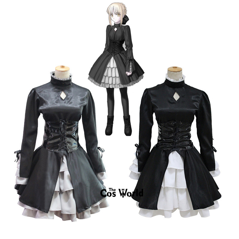 Fate/stay Night Black Saber Alternative Gothic Lolita Dress Uniform Outfit Anime Customize Cosplay Costumes