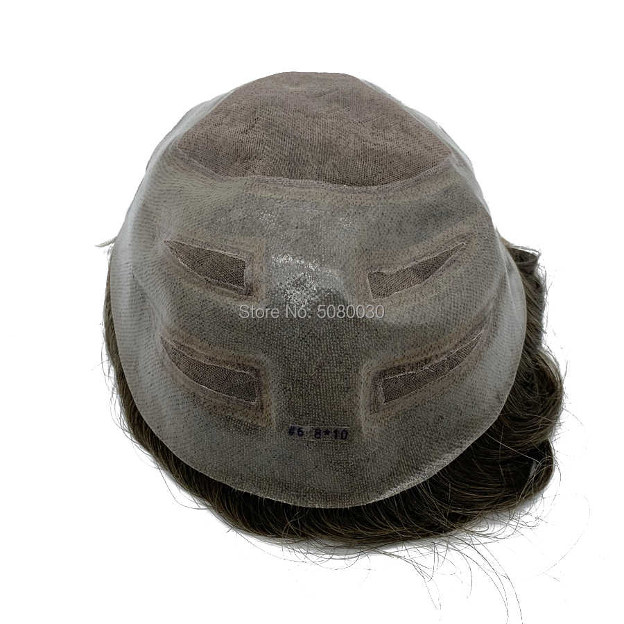 ナチュラルヘアラインシングルノット男織り男性かつらヘアピース人毛