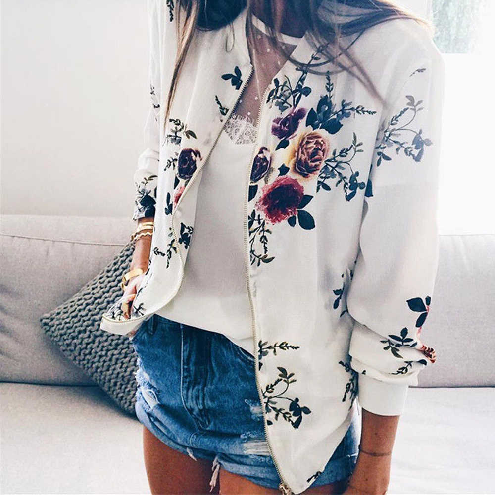 Fashion Bomber Femal Jacket Women Floral Long Sleeve Outwear Casual Tops Female Coat Kimono Basic Bomber Femal Jacket  Floral