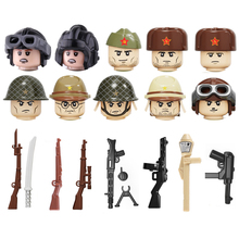 WW2 Army Soldiers Figures Weapon Building Blocks Soviet Union Army Soldiers Figures Helmet Weapons Parts Accessories Bricks Toys ww2 soviet army soldiers building blocks weapons antiaircraft gun tracked motorcycle accessory building blocks bricks toys