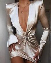 2019 Autumn Women Elegant OL Style Party Mini Dress Female Sexy V Neck Casual Plunge Twisted Design Slit Cuff