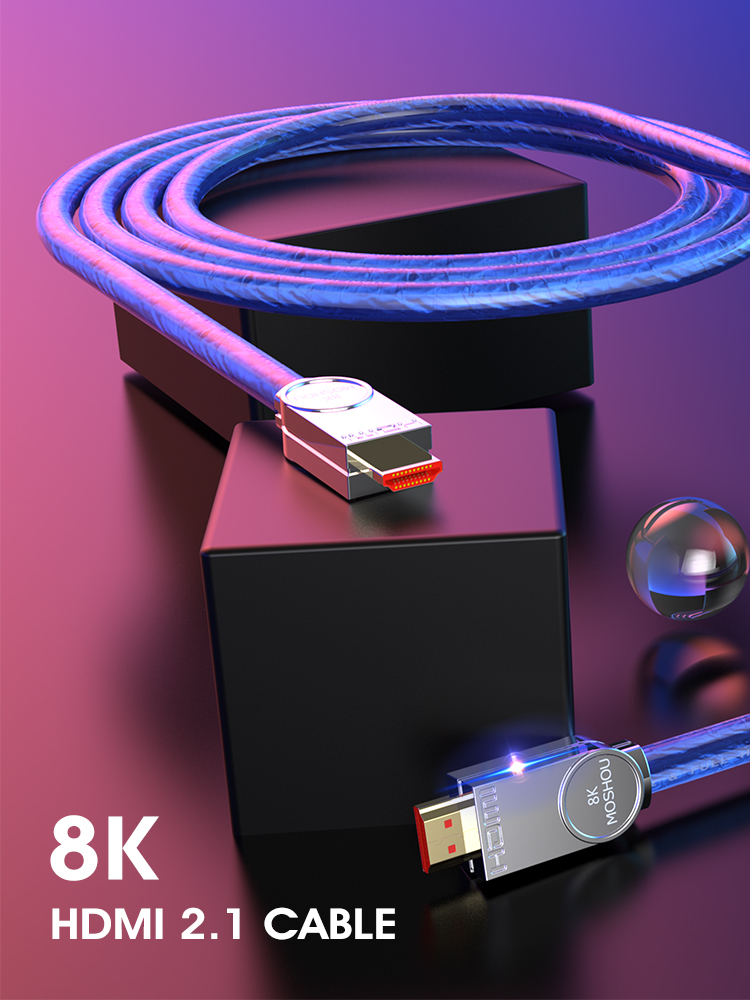 8K HDMI Cable-Ultra-Hd Cable-48gbs MOSHOU Audio UHD with 1M 2M 5M 20m/Hdr/4:4:4