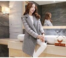 2019 Women Winter Warm Coat Streetwear Covered Button Outwear Slim Mane Gray Parkas